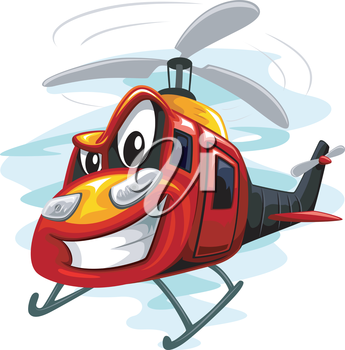 Mascot Illustration of an Assault Helicopter Whirring Its Rotors