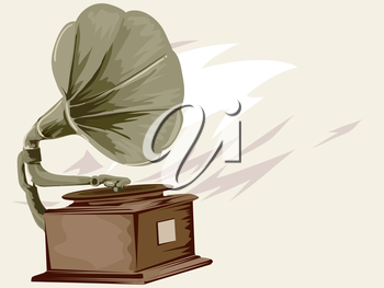 Vintage Styled Illustration of a Gramophone Spinning a Record