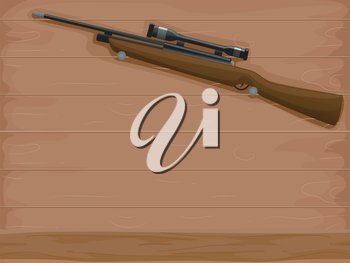 Background Illustration of a Rifle with an Attached Scope