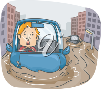 Illustration of a Panicking Man Caught in the Middle of a Flash Flood