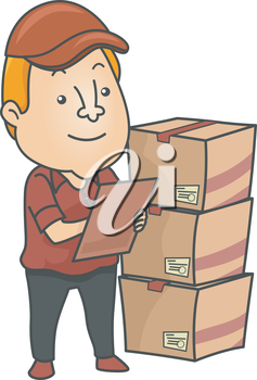 Illustration of an Inventory Checker Checking Deliveries