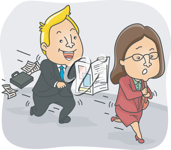 Illustration of a Persistent Insurance Agent Chasing After a Woman