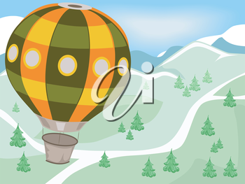 Illustration of a Hot Air Balloon Flying Over Mountains