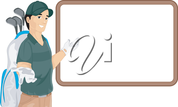 Illustration of a Caddy Gesturing to a Blank Board