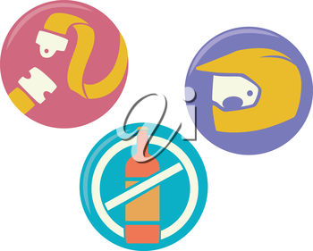 Icon Illustration of Safety Reminders When Driving