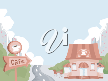 Illustration of a Wooden Signboard with the Arrow Pointing Towards a Cafe