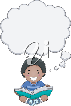 Illustration of a Boy Reading a Book with a Thought Bubble Above His Head
