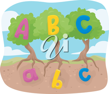 Illustration of Lower Case and Upper Case Letters of the Alphabet Represented by Seeds and Trees