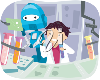 Illustration of a Robot Helping a Little Scientist with Experiments