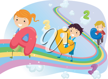 Stickman Illustration of Kids Walking on a Rainbow