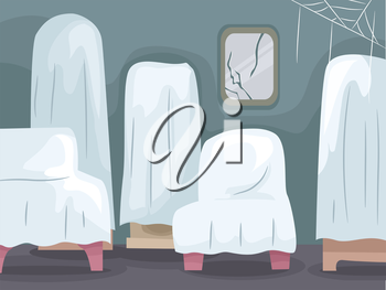 Illustration of Abandoned Home Furniture Covered with White Sheets
