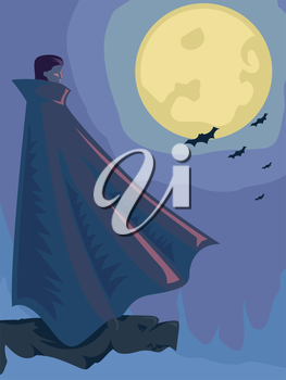 Illustration of a Vampire with a Full Moon for its Background