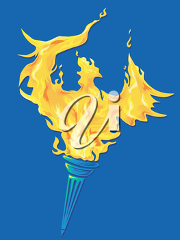 Illustration of a Golden Phoenix Rising Out of a Torch