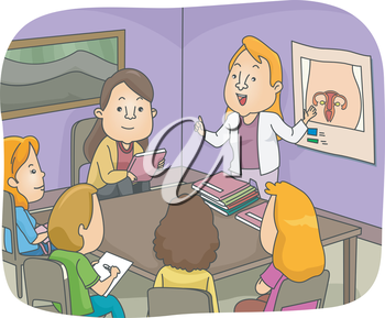 Illustration of a Sex Education Class Discussing the Female Reproductive System