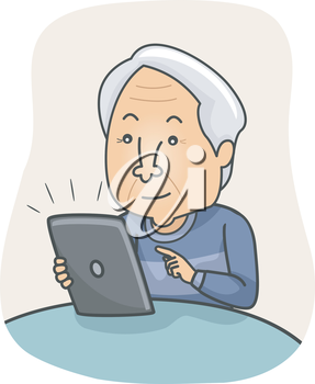Illustration of an Elderly Man Browsing the Internet on His Tablet