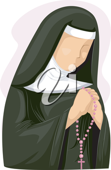 Illustration of a Nun Clutching a Rosary While Praying
