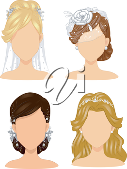 Illustration of a Group of Brides Wearing Different Head Dresses