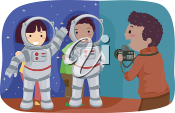 Stickman Illustration of Kids Trying Out Astronaut Standees