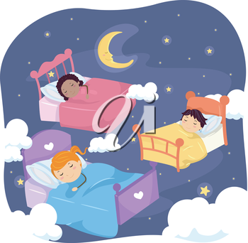 Stickman Illustration of Sleeping Kids Surrounded by Stars