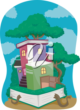 Illustration of a Tree House Made of Books