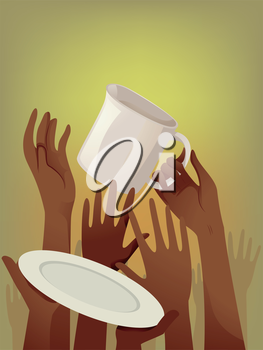 Illustration of Starving People Asking for Food