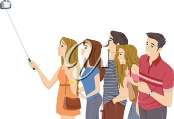 Illustration of a Group of Teenagers Taking a Selfie