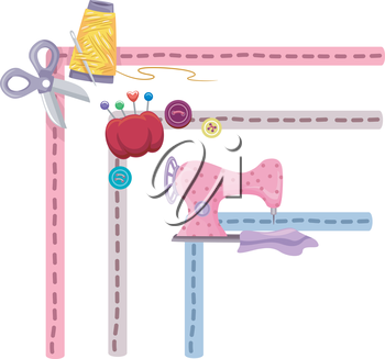 Border Illustration Featuring Sewing Elements