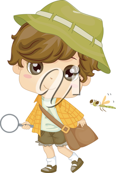 Illustration of a Little Boy Carrying a Magnifying Glass