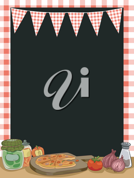 Illustration Featuring Pizza with a Checkered Frame for its Backdrop