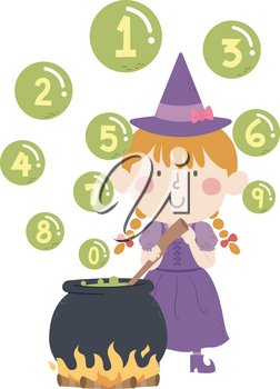 Illustration of a Kid Girl with Witch Costume Stirring Cauldron with Bubbles Floating Above with Numbers