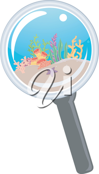 Illustration of a Magnifying Glass Showing Underwater Ocean with Coral Reefs
