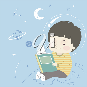 Illustration of a Kid Boy Reading a Book with Outer Space Doodle