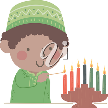 Illustration of a Kid Boy Wearing Traditional Kwanzaa African Clothing and Lighting Seven Candles