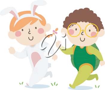 Illustration of Kids in Bunny and Turtle Costume Running a Race