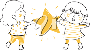 Illustration of Kids Girls Sharing and Holding a Big Yellow Star