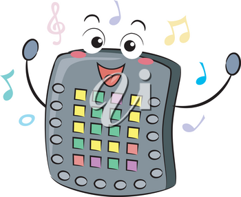 Illustration of an Electronic Drum Pad Mascot with Music Notes Around