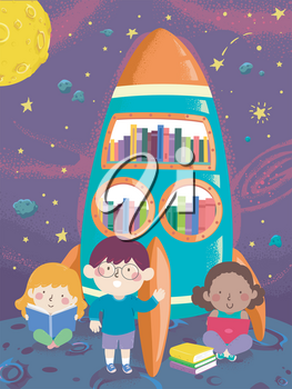 Illustration of Kids Reading Books in an Outer Space Themed Library