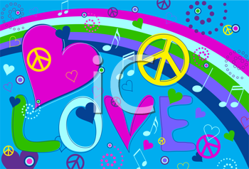 Royalty Free Clipart Image of a Retro Background With Hearts and Peace Symbols