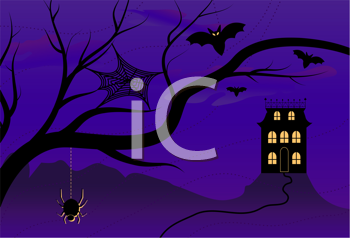 Royalty Free Clipart Image of a Spooky Tree and House