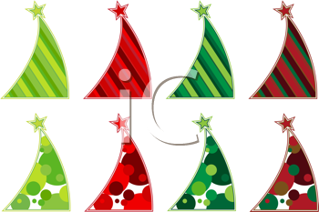 Royalty Free Clipart Image of Party Hats in Various Colours and Styles