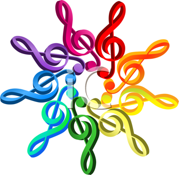 Royalty Free Clipart Image of a Spectrum of Treble Clefs in a Pattern