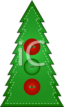 Royalty Free Clipart Image of a Stitched Christmas Tree With Buttons