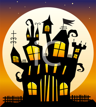 Royalty Free Clipart Image of a Haunted House at Sunset