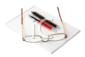 Royalty Free Photo of a Blank Notebook, Pens and Glasses