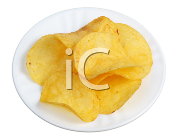 A few slices of potato chips in a white plate, isolated