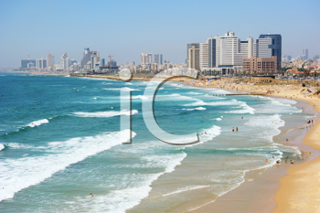 Royalty Free Photo of the Sea Coast and the View of the Tel Aviv From Old Jaffa
