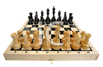 Chess board with pieces apart before the party