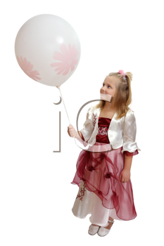 Royalty Free Photo of a Girl in a Fancy Dress Holding a Balloon