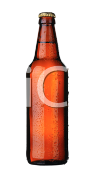 A bottle of beer from brown glass, isolated on a white background.