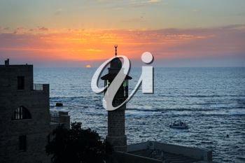 The sea, the houses and trees of Old Jaffa